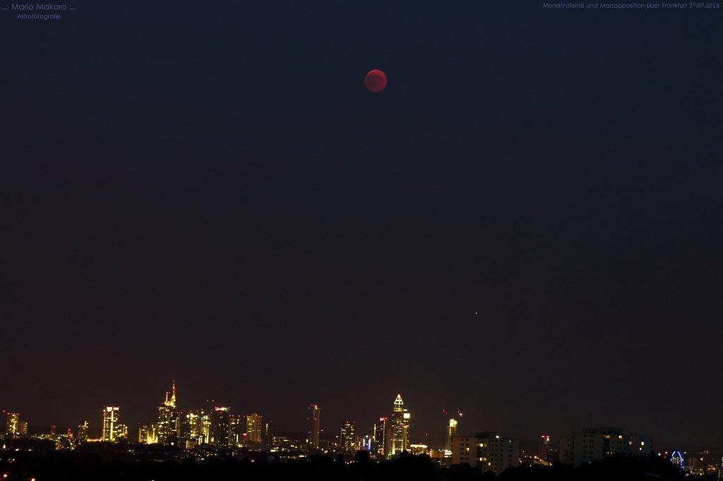 Mondfinsternis und Marsopposition über Frankfurt